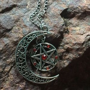 Witchy Pagan Crescent Moon Pentagram Necklace